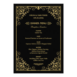 Wedding Dinner Menu Cards Art Deco Style