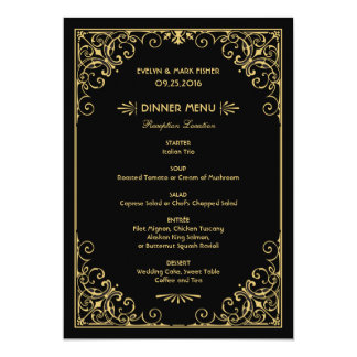 Wedding Dinner Menu Cards | Art Deco Style 13 Cm X 18 Cm Invitation Card