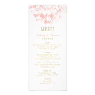 Wedding Dinner Menu Cards | Coral Floral Peony Rack Card