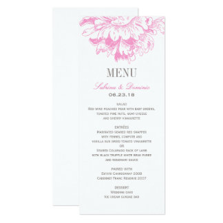 Wedding Dinner Menu Cards | Fuchsia Floral Peony