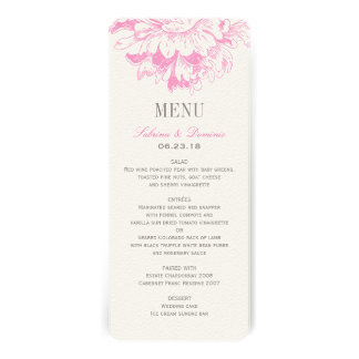 Wedding Dinner Menu Cards Fuchsia Floral Peony