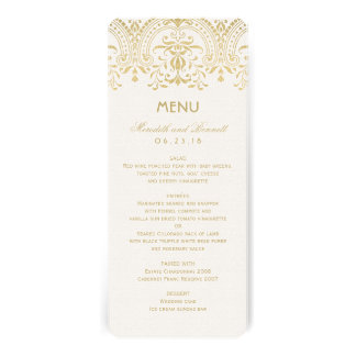 Wedding Dinner Menu Cards Gold Vintage Glam