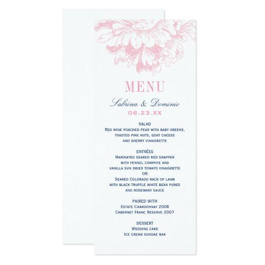 Wedding Dinner Menu Cards | Pink and Navy