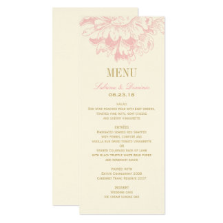 Wedding Dinner Menu Cards | Pink Floral Peony