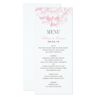 Wedding Dinner Menu Cards | Pink Floral Peony 10 Cm X 24 Cm Invitation Card