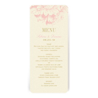 Wedding Dinner Menu Cards Pink Floral Peony