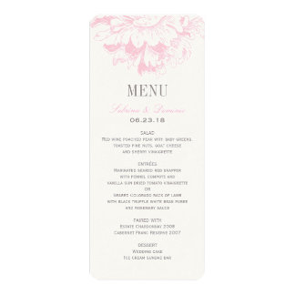 Wedding Dinner Menu Cards | Pink Floral Peony Invitations
