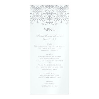Wedding Dinner Menu Cards | Silver Vintage Glam