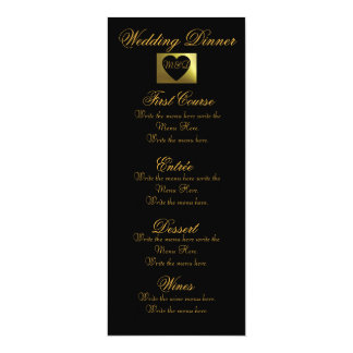 Wedding Dinner Menu | Pink Golden Collection 4x9.25 Paper Invitation Card