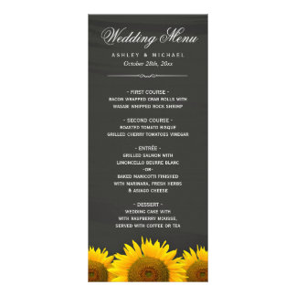 Wedding Dinner Menu Rustic Sunflowers Chalkboard