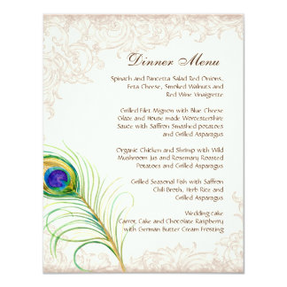 Wedding Dinner Menu Vintage Peacock Feather Etched Personalized Invites