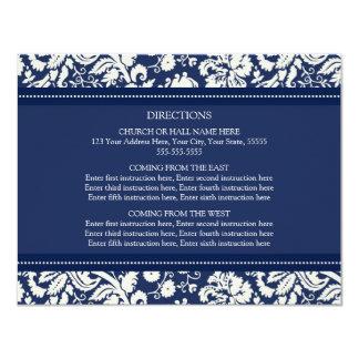 Wedding Direction Cards Blue Damask