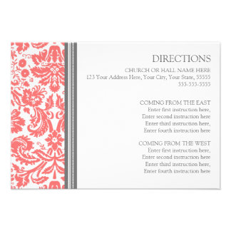 Wedding Direction Cards Coral Grey Damask