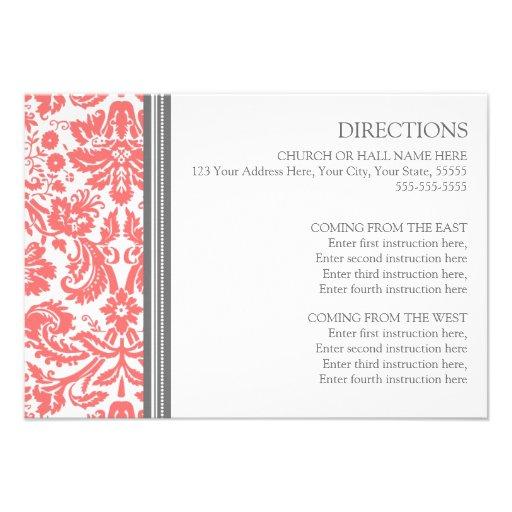Wedding Direction Cards Coral Grey Damask