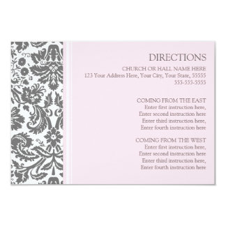 Wedding Direction Cards Pink Grey Damask 9 Cm X 13 Cm Invitation Card