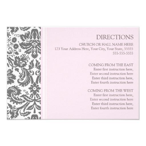 Wedding Direction Cards Pink Grey Damask