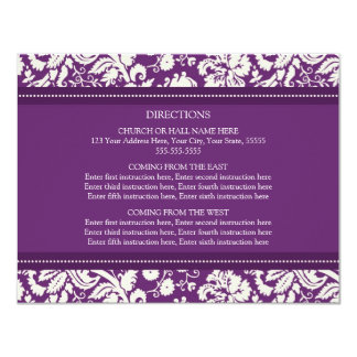Wedding Direction Cards Plum Damask