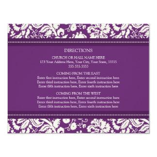 "Wedding Direction Cards Plum Damask 4.25"" X 5.5"" Invitation Card"