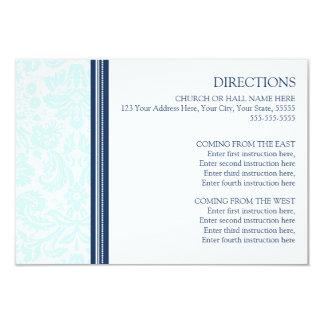 Wedding Direction Cards Sky Blue Damask 9 Cm X 13 Cm Invitation Card