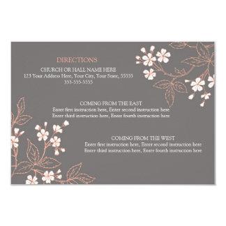 Wedding Direction Cards Vintage Gray Floral 9 Cm X 13 Cm Invitation Card