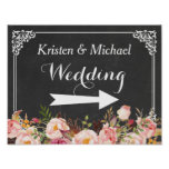 Wedding Direction Sign | Vintage Chalkboard Floral