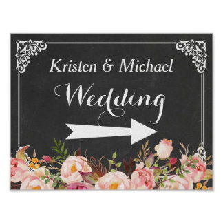 Wedding Direction Sign | Vintage Chalkboard Floral