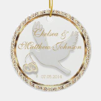 Wedding Dove for the Bride and Groom Keepsake Round Ceramic Decoration