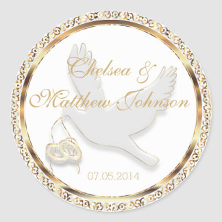 Wedding Dove for the Bride and Groom Round Sticker