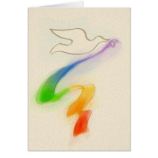 Wedding Dove with Rainbow Ribbon Card