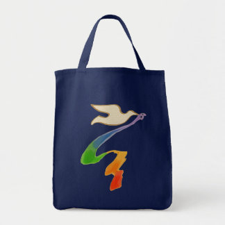 Wedding Dove with Rainbow Ribbon Grocery Tote Bag