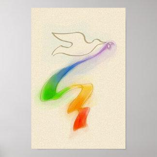 Wedding Dove with Rainbow Ribbon Poster