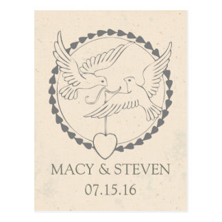 Wedding Doves Save the Date Postcard