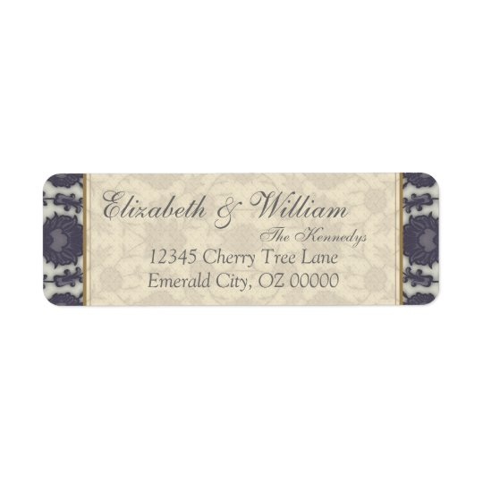 Wedding Dream Floral in Cream and Grey Return Address Label
