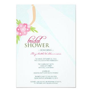 Wedding Dress_2 Bridal Shower Invitation (blue)