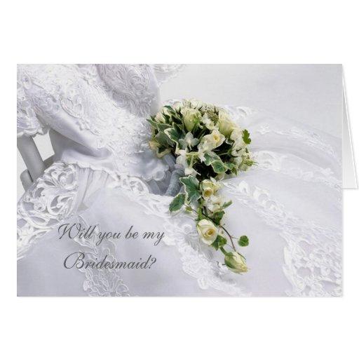 Wedding dress and roses Bridesmaid Card