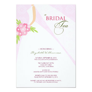 Wedding Dress Bridal Tea Invitation (pink)