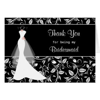Wedding dress, damask on black Thank you Card