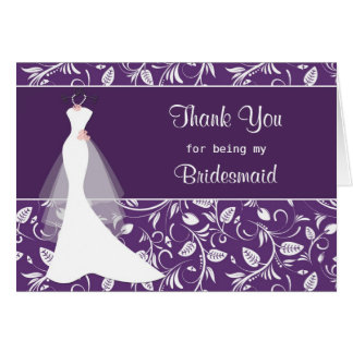 Wedding dress, damask on purple Thank you Card