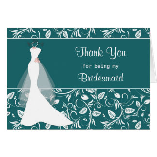 Wedding dress, damask on teal Thank you Card