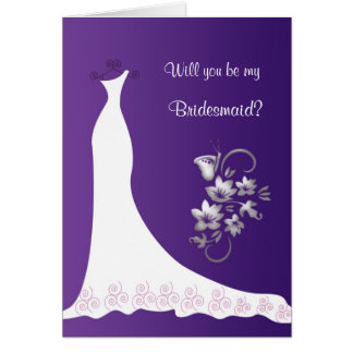 Wedding dress floral butterfly purple Bridesmaid Greeting Card