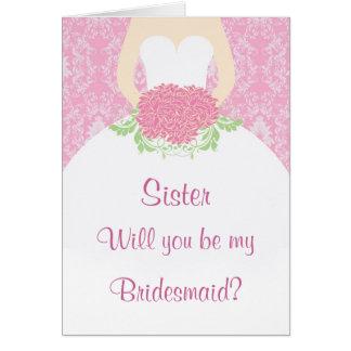 Wedding dress flowers pink damask Bridesmaid Greeting Card