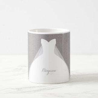 Wedding Dress Modern Glamour Bridal Chic Grey Coffee Mug