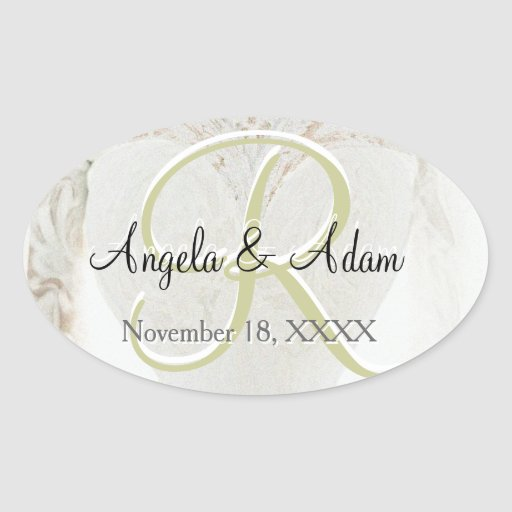 Wedding Dress Monogram. Oval Stickers