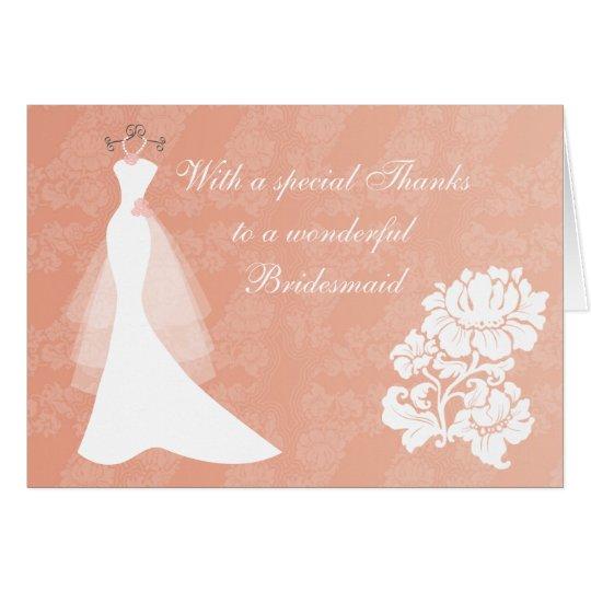 Wedding dress on coral Thank You Bridesmaid card