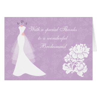 Wedding dress on purple Thank You Bridesmaid card