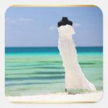 Wedding Dress On The Beach Square Sticker