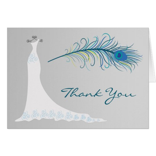 Wedding dress, Peacock feather Thank you Card