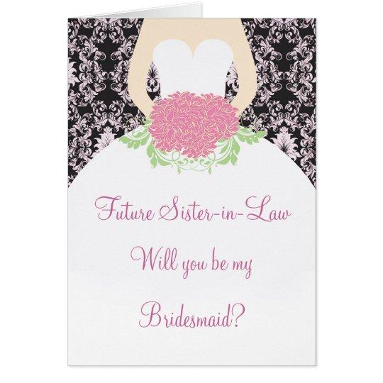 Wedding dress, pink damask on black Bridesmaid Card
