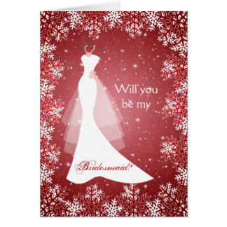 Wedding dress, snowflakes on red Bridesmaid Card
