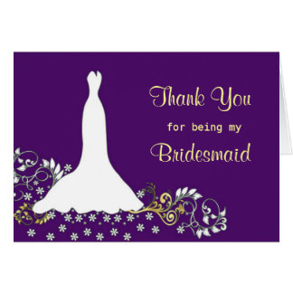 Wedding dress, swirls on purple Thank you Card